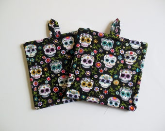 Pair of Sugar Skull Potholders, Set of Two Quilted Potholders