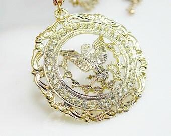 Rhinestone Filigree Pendant Necklace ~ Designer Signed ROYAL ~ Ornate Gold Tone Eagle ~ Retro Birthday Gift For Her ~ Estate Sale Jewelry