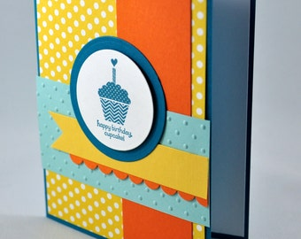 Birthday Greeting Card, Happy Birthday, Birthday Wishes, Cupcake, Aqua, Teal, Blue, Yellow, Orange, Polka Dots, Baby, Kids Birthday