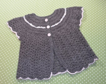 Gray Baby Sweater Cardigan Short Sleeve Angel Sweater in Undyed Alpaca size 12 months-2T with Pink Gingham Stoneware Buttons
