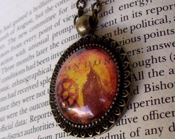 London Big Ben Necklace (N620) Vintage Pendant Design, Steampunk, Victorian, Sepia Artwork, Pendant and Chain