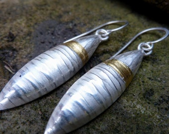 Silver and Gold Dangle Pod Earrings