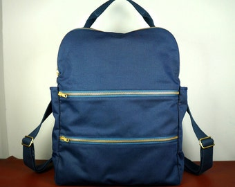 Zan Backpack in Navy Canvas Twill/ Multi-pocket Backpack/ Laptop Backpack/ Man Backpack