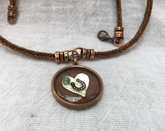 Star - Hand Stamped Heart Pendant Necklace With Copper Accents