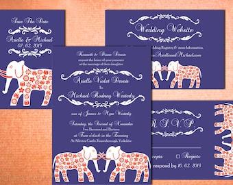 GRAND ELEPHANTS Indian Wedding Invitation Set Suite Card Design Asian Thai Nepali Pakistani Hindu Sikh Destination Save The Date Program New