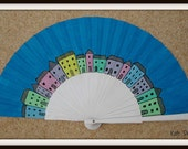 MTO Colored VILLAGE  Flamenco Folding Hand Handheld Wooden Fan by Kate Dengra from Spain Made to order