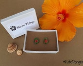 Green Genuine Sea Glass Red Pressed Real Flowers Ear Posts Earrings Sterling Silver In Gift Box Ocean Beach Inspired from Spain