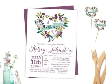 Purple Shower Invitation, Bridal Shower, Purple Flowers, Vintage Shower Invitation, Rustic Shower Invitation
