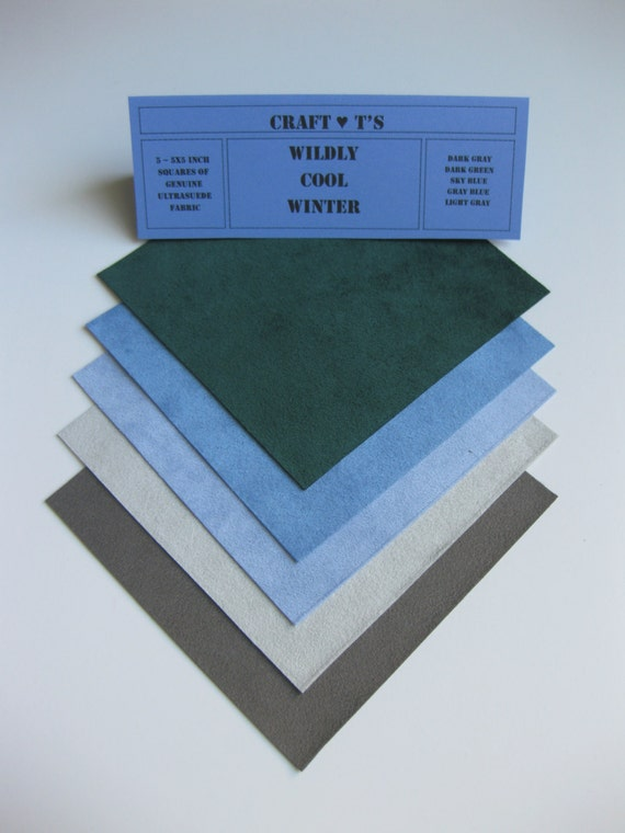 Ultrasuede Wildly Cool Winter 5x5 Squares, Dark Green, Sky Blue, Gray Blue, Light Gray, Dark Gray