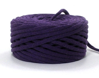 Purple Recycled T Shirt Yarn 37 Yards Handmade from a Reclaimed Tshirt