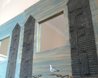 Hastings Fishmarket Net Shops hand painted mirror Stormy Grey