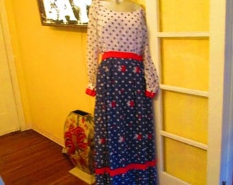1960s Long Party Dress Size 10 / Blue White Polka Dots Dress / High Tea Dress Elinor Gay