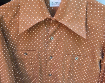 Vintage Men Swiss Dot Brown Ascot Chang Men Shirt / 70s Classy Custom Shirt Medium