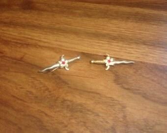 vintage 2 pin brooch lapel goldtone sword rhinestones