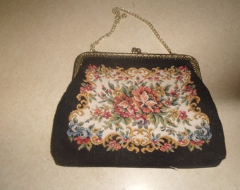 vintage ladies purse handbag black tapestry la regale