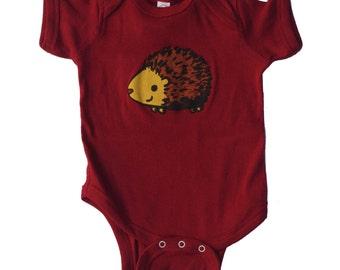 hedgehog baby body suit, hedgehog baby apparel, hedgehog infant jumper, baby apparel, baby gift, baby shower gift, onesie
