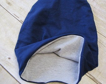 Reversible Slouch Beanie | Navy and Gray | Toddler Beanie | Slouchie Beanie