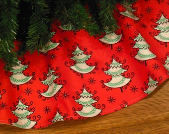 "Christmas Tree Skirt with Christmas Trees, Whimsical Tree Skirt, Modern Christmas Decor, Red and Green Holiday 42"" Diameter Xmas Tree Skirt"