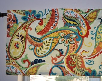 Kitchen Curtain - Valance .  Paisley Whimsey Multi Color by Covington .   Beautiful Handmade by SeamsOriginal