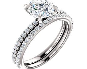 Diamond Engagement Ring Set Matching Wedding Band Solitaire Round Brilliant Cut 14k White Gold