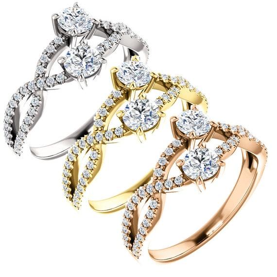 2 stone diamond engagement ring forever us antique diamond. Black Bedroom Furniture Sets. Home Design Ideas