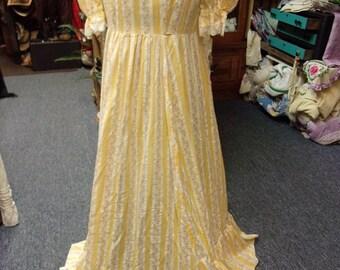 Vintage Yellow And White Stripped Prairie Dress