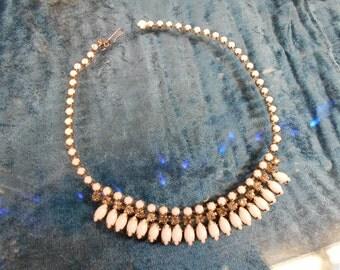 White And Smoky Rhinestone Necklace