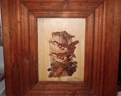 Vintage Hand Carved Hand Painted Birds in Hand Made Frame Wood Art