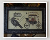 Halloween Delivery : Plum Street Samplers counted cross stitch patterns October Autumn raven crow hand embroidery The Cottage Needle