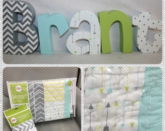 Wooden nursery letters, 5 letter set, Arrow nursery decor, Nursery letters, Wood letters Baby name letters, Custom name letters