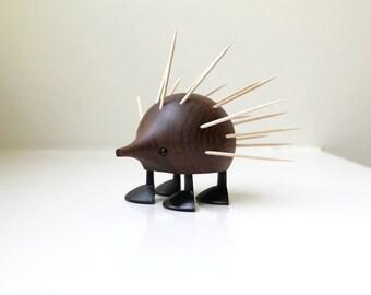 Mid Century Teak Hedgehog Porcupine Laurids Lonborg Toothpick Holder Denmark 1960's