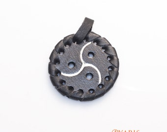 BDSM Symbol Pendant - Handmade and Handtooled , Black Braiding Sexy Pendant - BDSM Jewellery - Fifty Shades of Grey Inspired