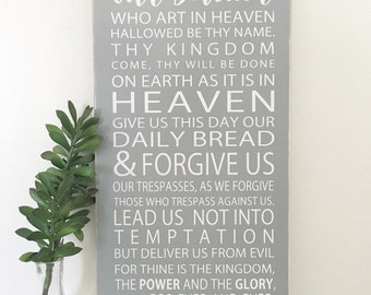 The Lord's Prayer-Handpainted Typography Art Sign-Christian Song- Inspirational-Pick Your Own Colors
