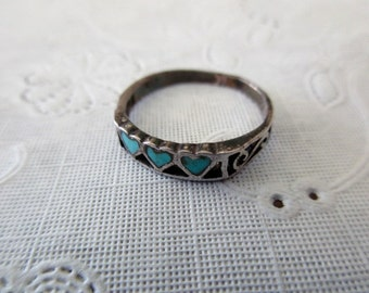 vintage sterling silver ring-turquoise, hearts, valentine, band, size 4.75