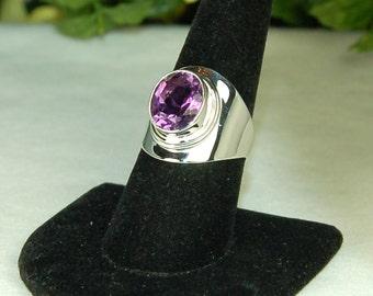Amethyst Ring, Size 8, Deep Purple, Large Amethyst, 5.5 Cts, Wide Silver Setting, Sterling Silver, February Birthstone, Purple Amethyst