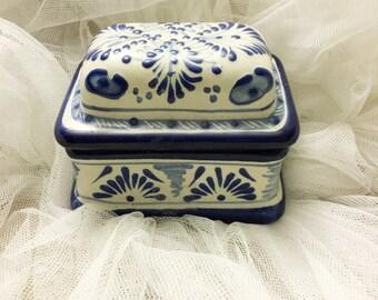 Blue and white handpainted ceramic box, Blue and white ceramic box