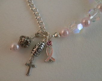 """Recycled """"Crystal Elegance"""" Breast Cancer Awareness Bracelet Faux Pink Pearls"""
