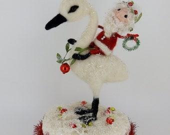 SALE German Vintage Inspired Santa Clause & Swan 9 3/4 inch wool needle felted winter creation -  Kris Kringle and Swan #1