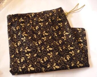 """Elegant Gift Bag, Black & Gold Bag, Holly Bag, Drawstring Bag, Reusable Gift Wrap, Fabric Gift Bag, Christmas Gift Bag, 10"""" x 16"""""""