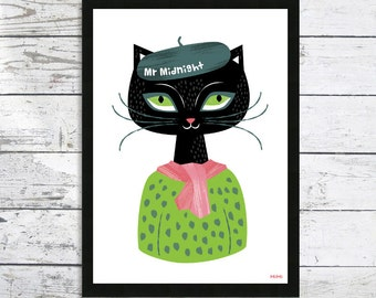 Black Cat Print - Mr Midnight - Cat lover print - Black Cat - Cat picture - Cat art print