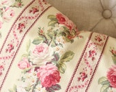 Antique French Farmhouse Pink Cabbage Rose Floral Striped Custom Designer Decorative Throw Pillow