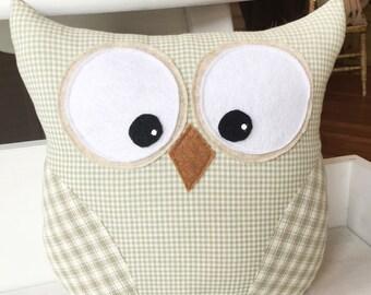 Owl Pillow sage green