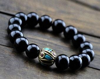 Handmade Bracelet Men's Bracelet Black Onyx Bracelet Elastic Bracelet 10mm Black Onyx Bracelet Stone Bracelet Genuine Bracelet Gift for Him
