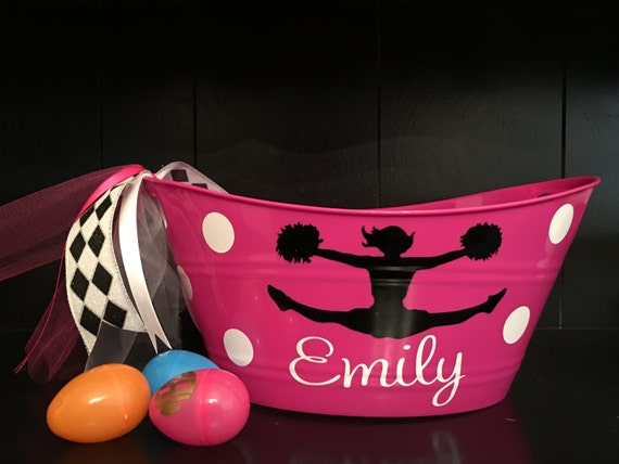Personalized easter basket best cheer gift cheerleader party like this item negle Choice Image