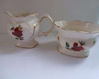 Vintage English Pottery Cream and Sugar Set Red Rose Price Kensington Cream and Sugar Set