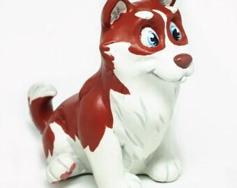 Husky Dog Figurine-Red