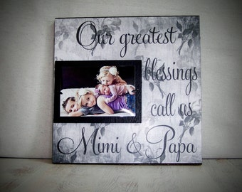 Custom Grandparents Picture Frame, Mimi, Papa, Grandma, Grandpa, Grandmother, Grandfather, Nana, 12x12 ,Mothers Day, Christmas Gift