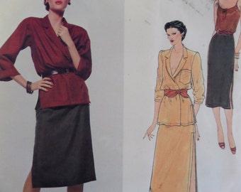 WRAP JACKET & SKIRT Pattern • Vogue 2137 • Miss 12 • Anne Klein • Pullover Camisole • Slim Skirt • Vogue Designer Patterns • WhiletheCatNaps