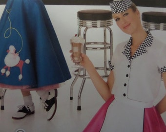 CAR HOP SKIRT Pattern • Simplicity 3847 • Miss 6-12 • Sock Hop Outfit • 50's Poodle Skirt & Petticoat • Costume Patterns • WhiletheCatNaps