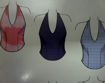 HALTER TOP Pattern • Simplicity 5995 • Miss 6-16 • Summer Tops • Camisole Tops • Tie Back Halter Top • Modern Patterns • WhiletheCatNaps